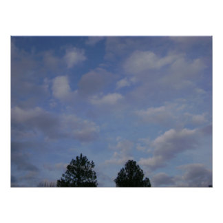 partly cloudy print