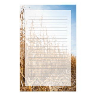 Partly Harvested Corn Field Personalized Stationery