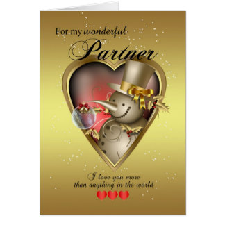 Partner Christmas Card - Snowman In Heart