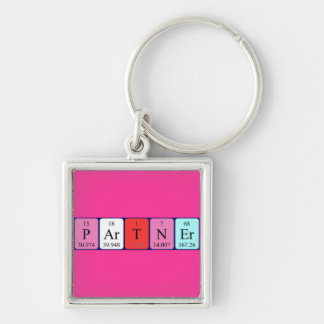 Partner periodic table name keyring Silver-Colored square key ring