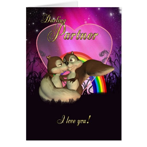 Partner Valentine's Day Card With Cute Love Squir