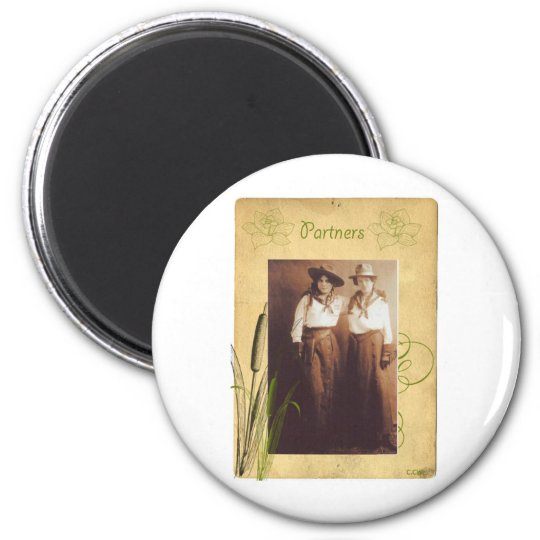 Partners Cowgirl Vintage Photo Collage Magnet