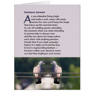 Partners forever poem with dove photo big greeting card
