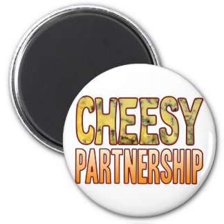 Partnership Blue Cheesy 6 Cm Round Magnet