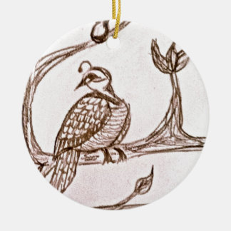 Partridge in a Pear Tree Round Ceramic Decoration