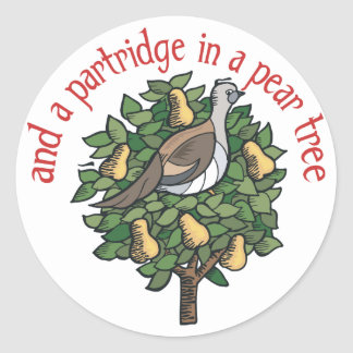 Partridge in a Pear Tree Round Sticker