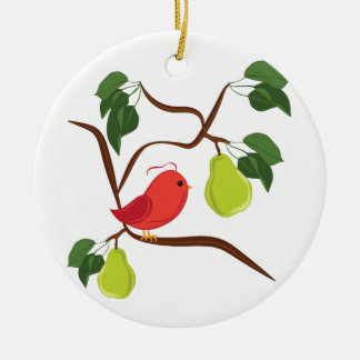 Partridge In Pear Tree Round Ceramic Decoration