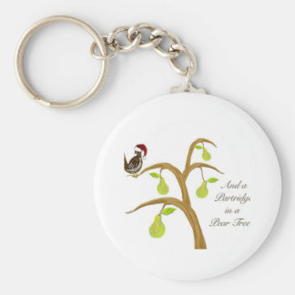 Partridge + Pear Tree Basic Round Button Key Ring