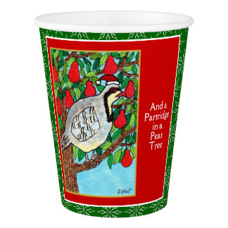 Partridge Pear Tree Cute Animals 12 Days Christmas Paper Cup
