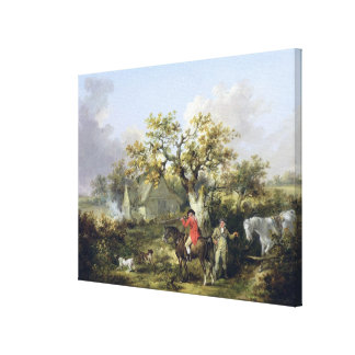 Partridge Shooting (oil on canvas) Canvas Print