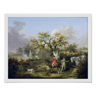 Partridge Shooting (oil on canvas) Poster