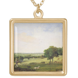 Partridge Shooting (oil on millboard) Personalized Necklace