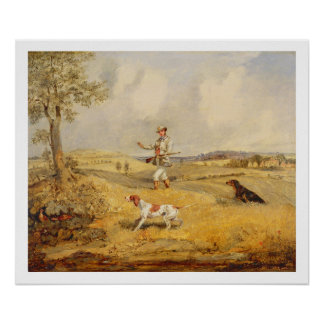 Partridge Shooting (oil on panel) Poster