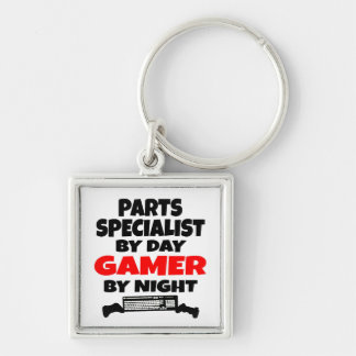 Parts Specialist by Day Gamer by Night Silver-Colored Square Key Ring