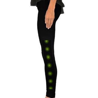Party 3D Black Leggings Color Buttons Lime Green