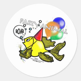 Party Animal Fish Classic Round Sticker