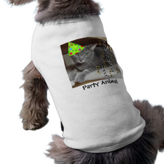 Party Animal Gray Cat Sleeveless Dog Shirt