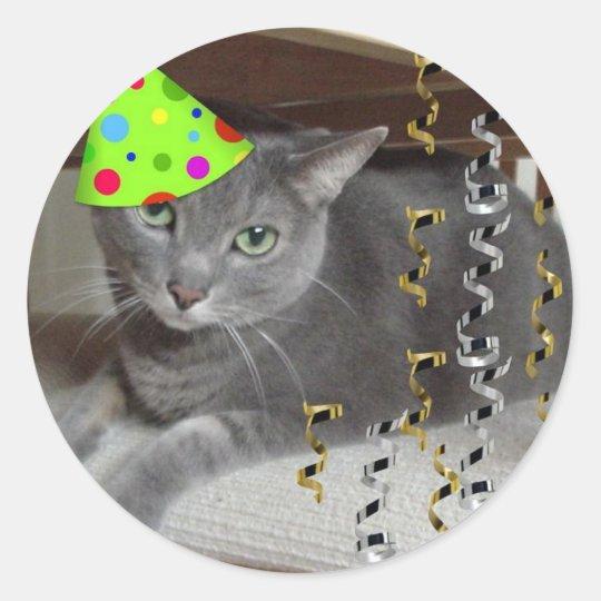 Party Animal Grey Cat Classic Round Sticker