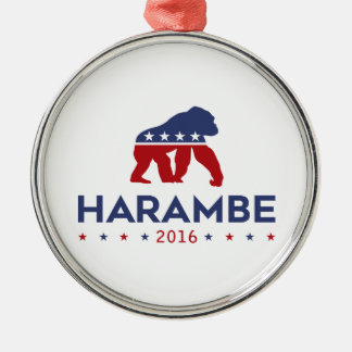 Party Animal Harambe Silver-Colored Round Decoration