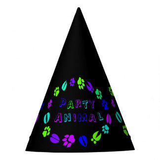 """Party Animal"" Party Hat with Hoof- & Paw- Prints"