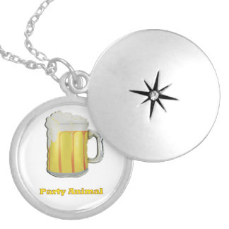 Party animal products round locket necklace