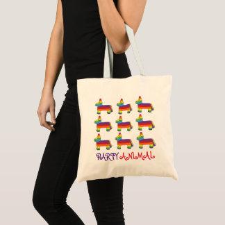 PARTY ANIMAL Rainbow Donkey Piñata Birthday Fiesta Tote Bag