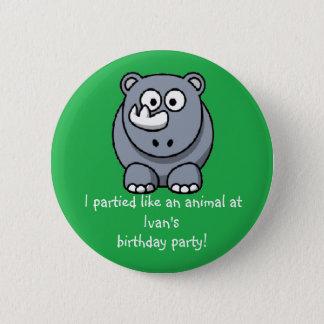 Party Animal Rhino Button Party Favor Souvenir