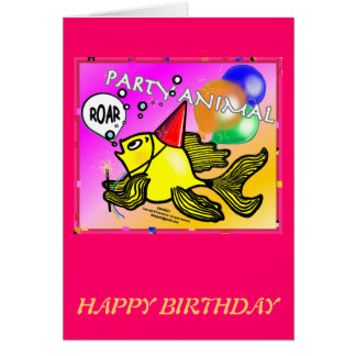 Party Animal Roaring Fish funny cute sparky comics Greeting Card
