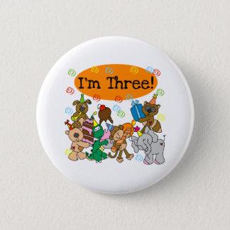 Party Animals 3rd Birthday 6 Cm Round Badge