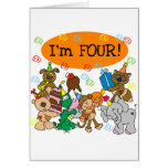Party Animals 4th Birthday Tshirts and Gifts Greeting Card