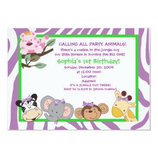 PARTY ANIMALS Baby Girl 1st Birthday Jungle 5x7 13 Cm X 18 Cm Invitation Card