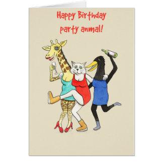 Party Animals! Fun animal birthday card for women
