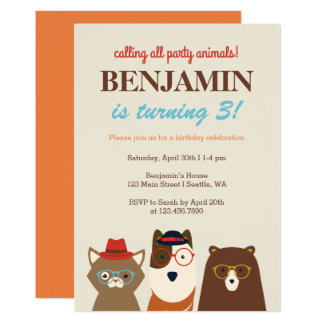 Party Animals Fun Birthday Party Invitation