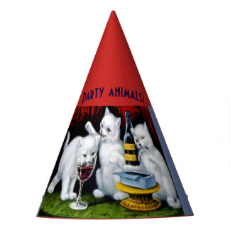 Party Animals Hat Cats Wine Sardines Funny
