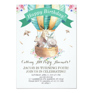 Party Animals Hot Air Balloon Happy Birthday Card