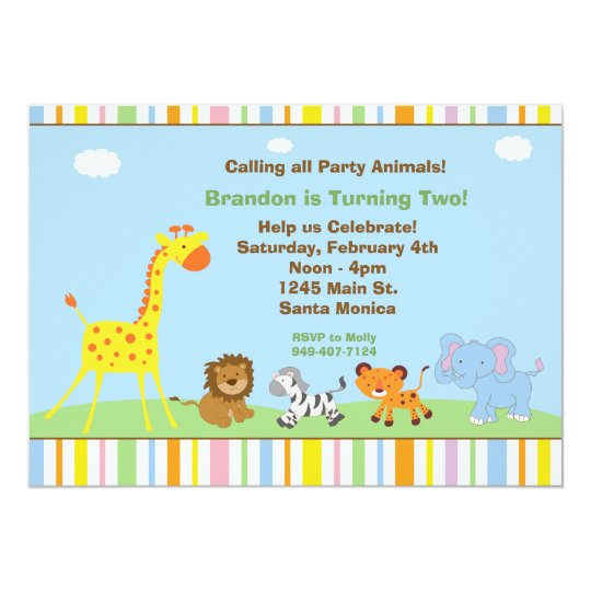 Party Animals Kids Birthday Party Invitation