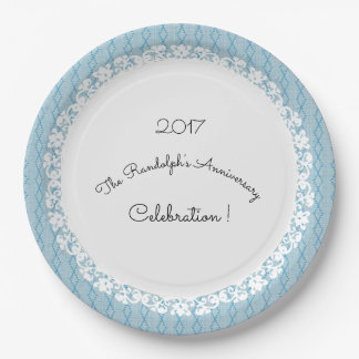 Party_Anniversary-Celebration_Template_Blue-Lace 9 Inch Paper Plate