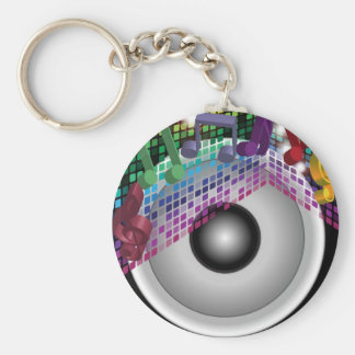 Party Background Basic Round Button Key Ring