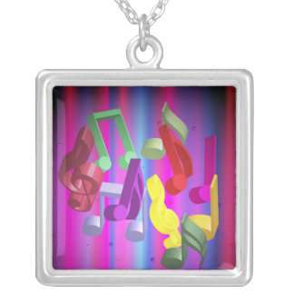 Party Background Square Pendant Necklace