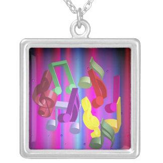 Party Background Square Pendant Necklace
