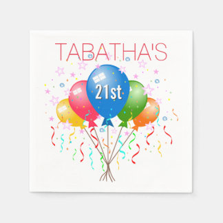 Party Balloons 21st Birthday Party Paper Napkins Disposable Serviette