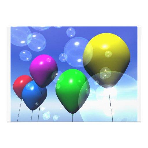 Party Balloons & Bubbles Invitation | Zazzle.