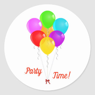 Party Balloons Classic Round Sticker
