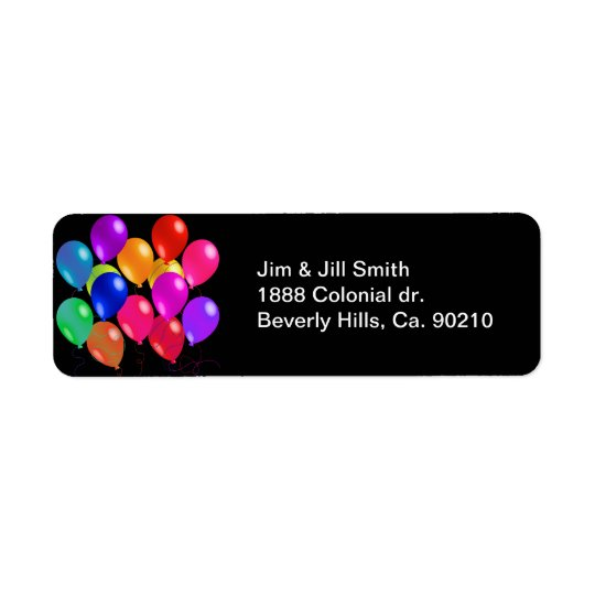 Party Balloons In A Rainbow Of Colours Return Address Label