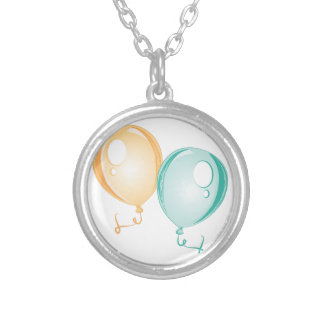 Party Balloons Round Pendant Necklace