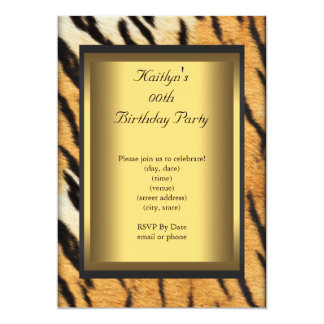Party Birthday Tiger Animal Gold 13 Cm X 18 Cm Invitation Card
