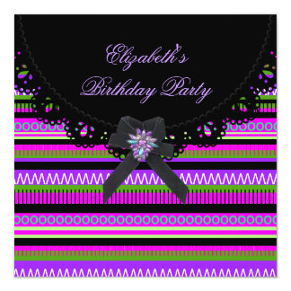 Party Black Colorful Mexican Birthday 13 Cm X 13 Cm Square Invitation Card