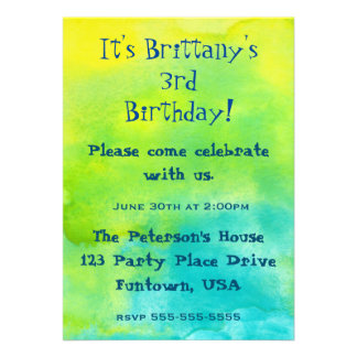 Party!  Blue and Yellow Watercolors Birthday 13 Cm X 18 Cm Invitation Card