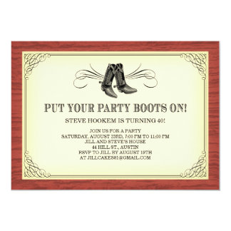 Party Boots Old Western Invitations