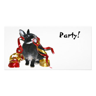 Party Bunny Custom Photo Card